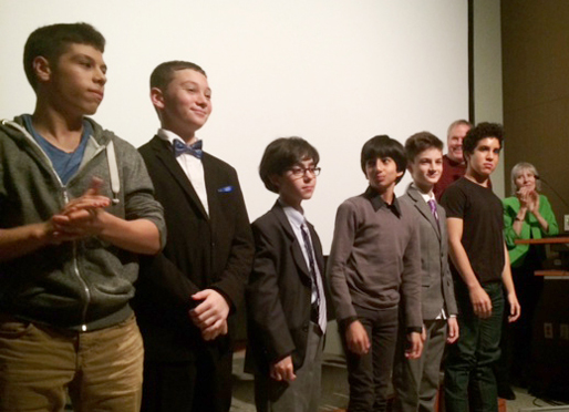 The young actors take a bow after the panel discussion. Left to right: Matthew Oliva (Bernie), Leo Hojnowski (Aaron), Tim Borowiec (Ruben), Zane Beers (Irving), Giorgio Poma (Daniel), Zaki Sky (Hershel). In the background: Tom Whitus (director) and Anna Olswanger (author of the book).