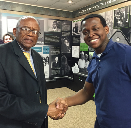 Civil rights attorney Fred Gray and London Carlisle, the actor who plays Gray in The Integration of Tuskegee High School
