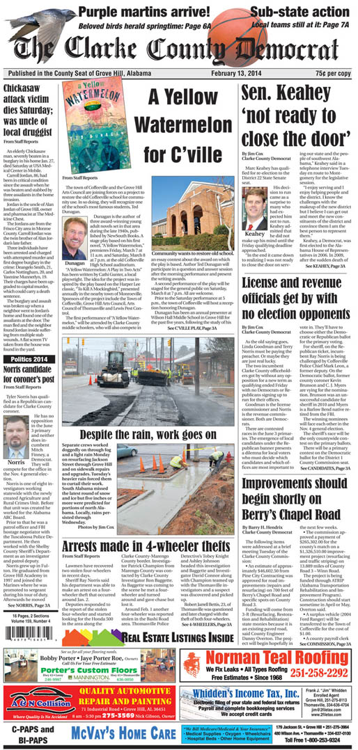 The Clarke County Democrat features Ted Dunagan's A Yellow Watermelon on its front page
