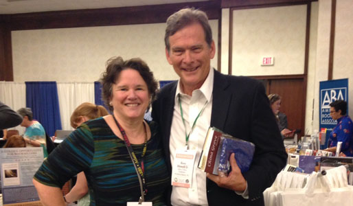 Forsaken author Ross Howell Jr and SIBA Executive Director Wanda Jewell celebrates SIBA's 40th anniversary