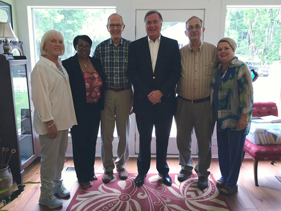 Annell Gordon, Deborah Rankins, Jim Herod (Book Club President), Steve Flowers, Jim Cox (Editor, Clarke County Democrat), and Linda Vice (Director of Tourism for Rural Southwest Alabama)