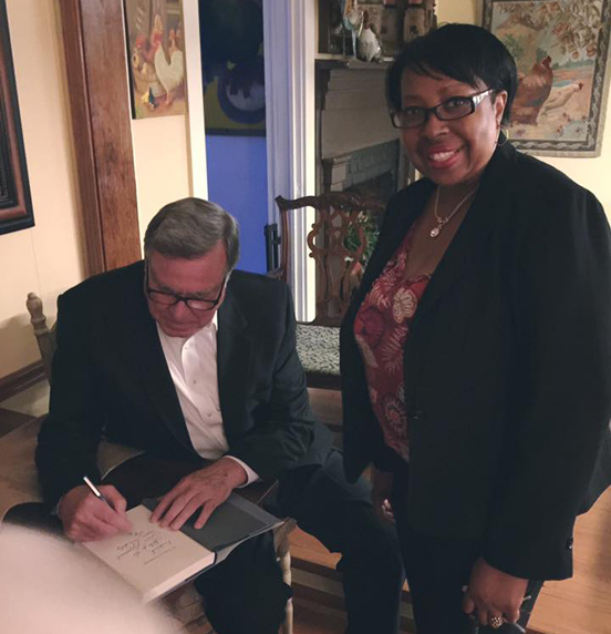 Steve Flowers signing Of Goats & Governors for Deborah Rankins