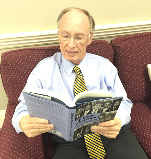 Alabama governor Robert Bentley enjoys Steve Flowers's new book Of Goats & Governors