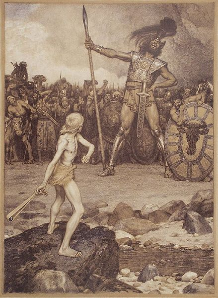 David and Goliath, a colour lithograph by Osmar Schindler (c. 1888)